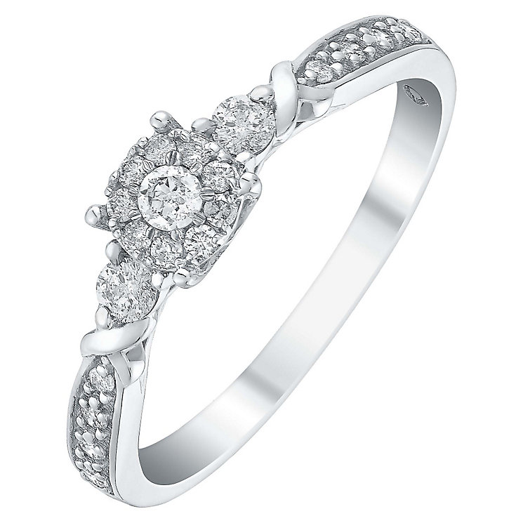 Sterling silver 0.25ct diamond multi stone ring - Product number 3432912