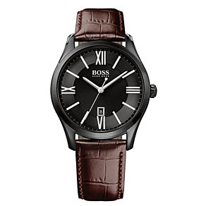 Hugo Boss men's ion-plated black leather strap watch - Product number 3433110