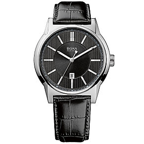 Hugo Boss men's stainless steel black leather strap watch - Product number 3433145