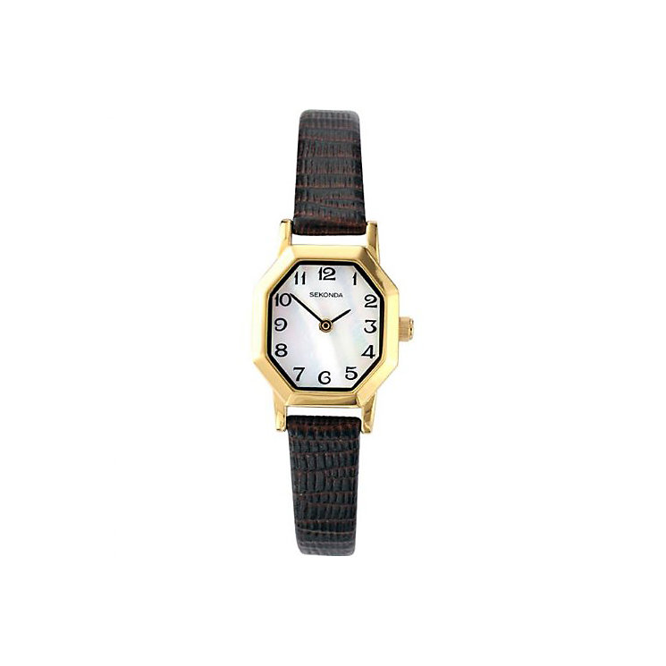 Sekonda Ladies' Octagonal Dial Brown Leather Strap Watch - Product number 3434559