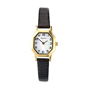 Sekonda Ladies' Octagonal Dial Brown Leather Strap Watch - Product number 3434559