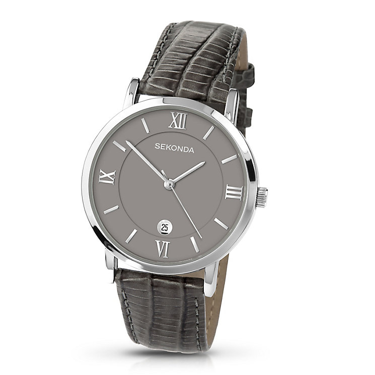 Sekonda Men's Chrome Case & Grey Leather Watch - Product number 3434613