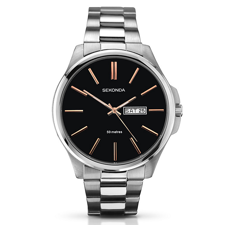 Sekonda Men's Black Dial & Stainless Steel Bracelet Watch - Product number 3434648