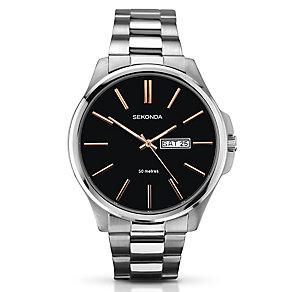 Sekonda Men's Black Dial & Stainless Steel Bracelet Watch - Product number 3434648