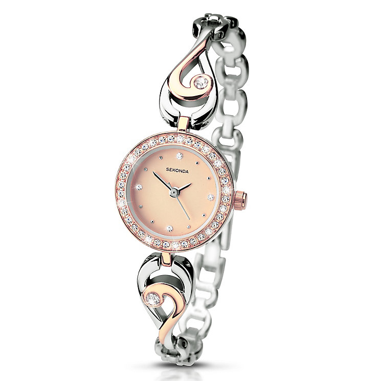 Sekonda Ladies' Two Tone Stone Set Swirl Bracelet Watch - Product number 3434745