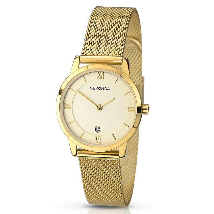 Sekonda Ladies' Matte Champagne Dial Mesh Bracelet Watch - Product number 3434753