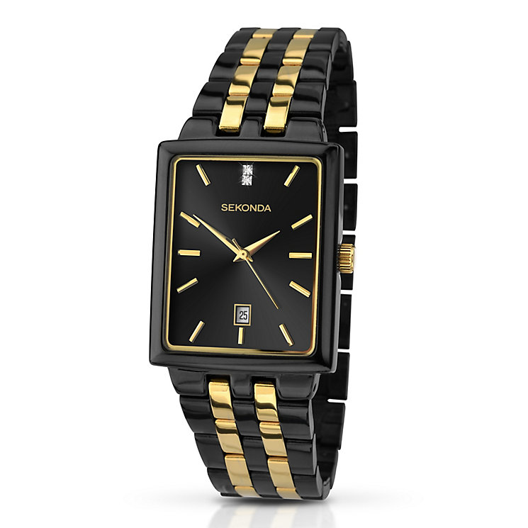 Sekonda Men's Matte Black Stone Set Bracelet Watch - Product number 3434818