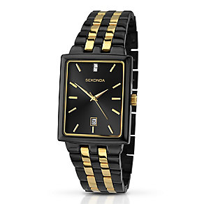 Sekonda Men's Matte Black Stone Set Bracelet Watch - Product number 3434818