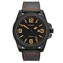 Sekonda Men's Black Leather Strap Watch - Product number 3434850