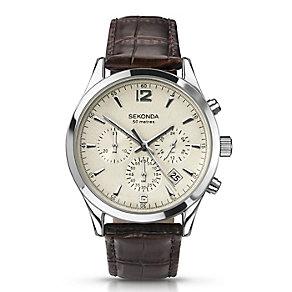 Sekonda Men's Dark Brown Leather Strap Watch - Product number 3434869