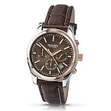 Sekonda Men's Rose Gold Plated Brown Leather Strap Watch - Product number 3434877
