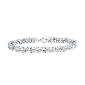 Sterling Silver and Diamond Heart Bracelet - Product number 3435814