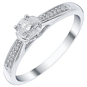 9ct White Gold 1/4 Carat Diamond Ring - Product number 3436020