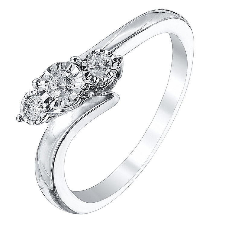 9ct White Gold 0.12 Carat Diamond Trilogy Ring - Product number 3440516