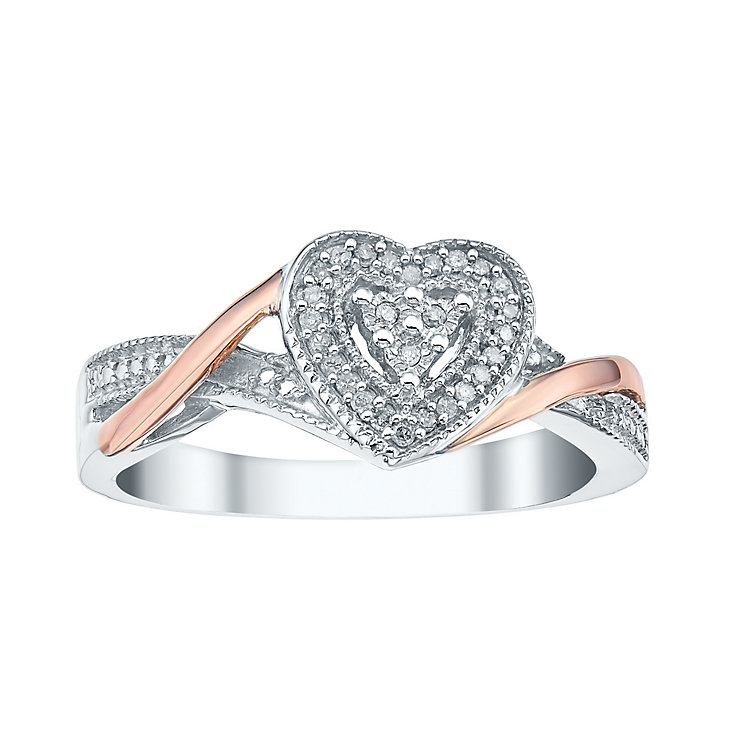 Silver 9ct & Rose Gold Diamond Heart Cluster Ring - Product number 3440923