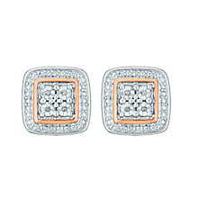 Silver and 9ct Rose Gold Diamond Stud Earrings - Product number 3441490