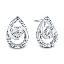 Sterling Silver Diamond Stud Earrings - Product number 3441504