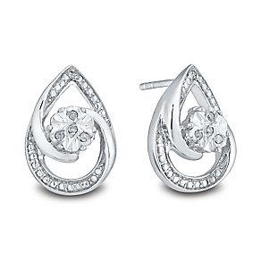 Sterling Silver Diamond Stud Earrings - Product number 3441504