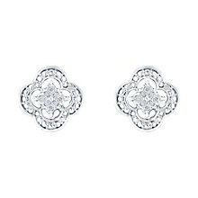 Sterling Silver Diamond Set Flower Stud Earrings - Product number 3441520