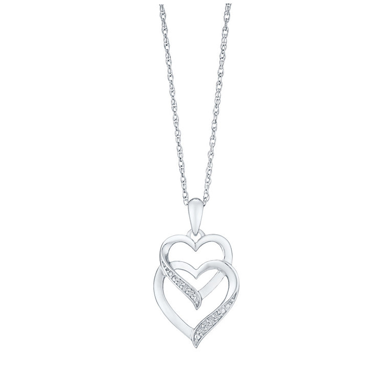 Sterling Silver and Diamond Heart Pendant - Product number 3441563