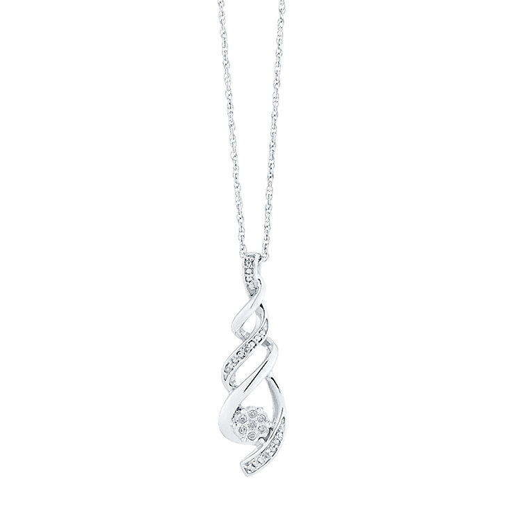 Sterling Silver Diamond Set Twist Pendant - Product number 3441598