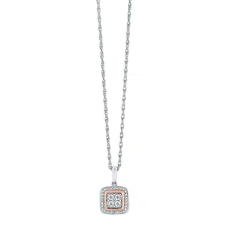 Silver and Rose Gold Diamond Pendant - Product number 3442004