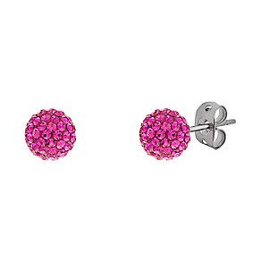 Tresor Paris titanium 6mm cerise crystal stud earrings - Product number 3442047
