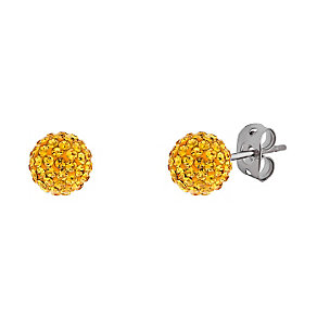 Tresor Paris titanium 6mm gold colour crystal stud earrings - Product number 3442128