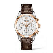 Longines men's two colour brown leather strap watch - Product number 3447995