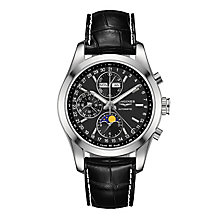 Longines Conquest men's stainless steel black strap watch - Product number 3448029