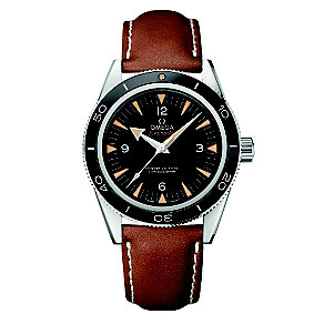 Omega Seamaster men's stainless steel leather strap watch - Product number 3450694