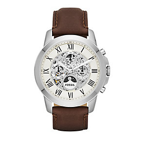 Fossil Grant men's stainless steel brown leather strap watch - Product number 3450899