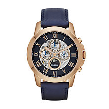 Fossil Grant men's rose gold-plated blue leather strap watch - Product number 3450902
