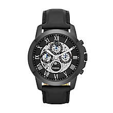 Fossil Grant men's ion-plated black leather strap watch - Product number 3450929