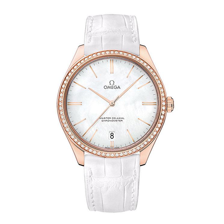 Omega De Ville Tresor Rose Gold Round White Strap Watch - Product number 3451097