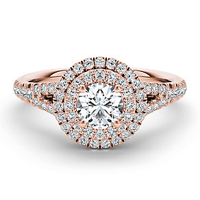 The Diamond Story 18ct rose gold 1ct diamond halo ring - Product number 3456161