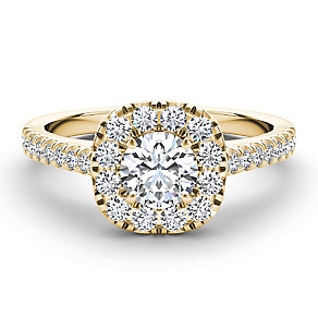 The Diamond Story 18ct yellow gold 1ct diamond halo ring - Product number 3459144