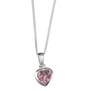 Silver Pink Cubic Zirconia Heart Necklace