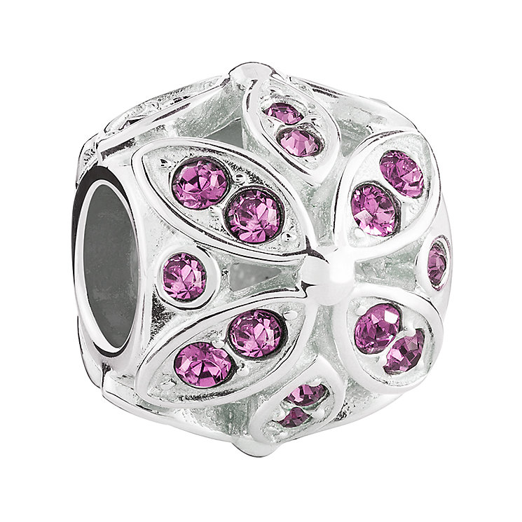 Chamilia floral amethyst crystal sterling silver charm - Product number 3466019