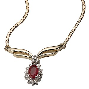 9ct Gold Ruby and Diamond Wishbone Necklace