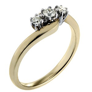 9ct Gold Quarter Carat Diamond Trilogy Ring