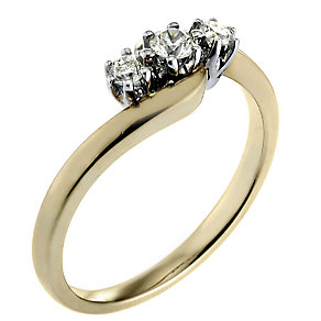 9ct Gold Quarter Carat Diamond Trilogy Ring - Product number 3473872