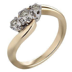 9ct Gold Diamond Trilogy Ring