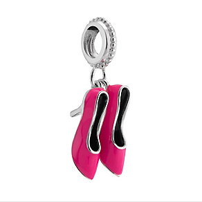 Chamilia Silver & Pink Enamel Pump It Up Shoes Bead - Product number 3474046