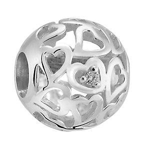 Chamilia Sterling Silver and Diamond Captured Hearts Bead - Product number 3476537