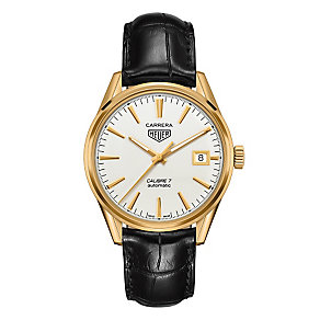 TAG Heuer Carrera men's gold-plated black strap watch - Product number 3476650