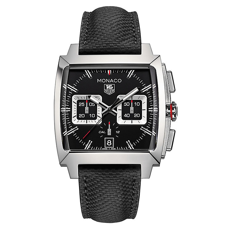 TAG Heuer Monaco men's stainless steel black strap watch - Product number 3479218