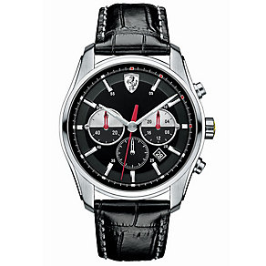 Scuderia Ferrari GTB-C men's steel black leather strap watch - Product number 3479331