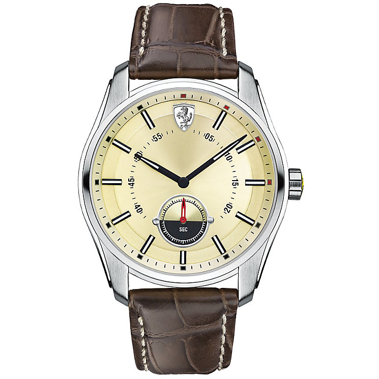 Scuderia Ferrari GTB-C men's steel brown leather strap watch - Product number 3479374