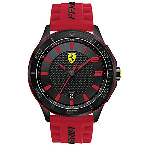 Scuderia Ferrari men's ion-plated black rubber strap watch - Product number 3479390